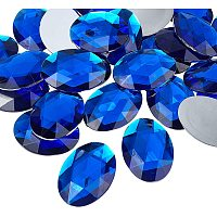 Acrylic Rhinestone Flat Back Cabochons, Faceted, Buttom Silver Plated, Oval, Blue, 40x30x7~7.5mm, 30pcs/box