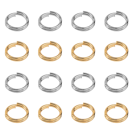 UNICRAFTALE 304 Stainless Steel Split Rings, Golden & Stainless Steel Color, 5x1mm; Inner Diameter: 3.8mm; Single Wire: 0.5mm; 2 colors, 100pcs/color, 200pcs