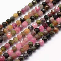 ARRICRAFT Natural Tourmaline Beads Strands, Faceted, Round, 4mm, Hole: 1mm, about 86~100pcs/strand, 15.1~15.5 inches(38.5~39.5cm)