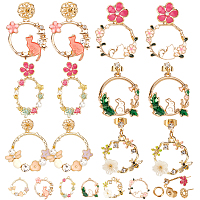 SUNNYCLUE DIY Earrings Making Kits, with Alloy Enamel Pendants and Real 18K Gold Plated Brass Stud Earring Findings, Mixed Color
