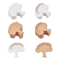 Fingerinspire Cardboard Earring Display Cards, Tree, Mixed Color, 3.95~4x3.9x0.04cm, Hole: 1.2mm; 4 patterns, 100pcs/pattern, 400pcs/set