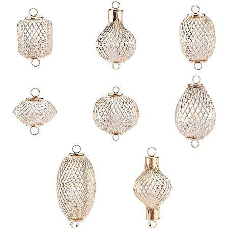 SUPERFINDINGS Environmental Iron Links Connectors, with Crystal Rhinestone inside, Cadmium Free & Nickel Free & Lead Free, Lantern, Light Gold, 16pcs/set