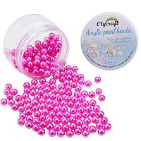 Olycraft Environmental Plastic Imitation Pearl Beads, High Luster, Grade A, No Hole Beads, Round, Fuchsia, 8mm; 200pcs/box