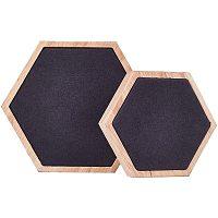 Wood Jewelry Displays, with Faux Suede, Hexagon, Black, Big: 12x13.6x1.9cm; Small: 9x10.3x1.9cm; 2pcs/set.