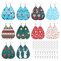 SUNNYCLUE DIY Christmas Earring Makings, with PU Leather Big Pendants, Iron Jump Ring and Brass Earring Hook, Teardrop, Mixed Color, 56x37x1.5mm, Hole: 1.2mm