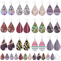 SUNNYCLUE DIY Earring Making Kits, with Printed Wooden Big Pendants, Iron Jump Rings and Brass Earring Hooks, Mixed Color, Pendant: 59x36x2.5mm, Hole: 1.5mm, 24pcs/set