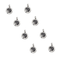 UNICRAFTALE Trendy Original Color 304 Stainless Steel Grade A Rhinestone Flat Round Charm Pendants, Faceted, Stainless Steel Color, 9x6.5x4mm, Hole: 2mm; 30pcs/box