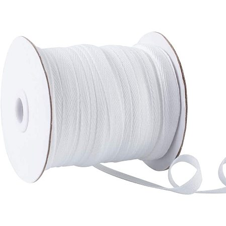 Polyester Cotton Twill Tape Ribbons, Herringbone Ribbons, for Home Decoration, Wrapping Gifts & DIY Crafts Decorative, White, 10mm; about 80yards/roll
