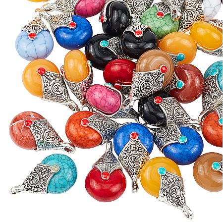 Tibetan Style Resin Pendants, with Alloy & Enamel, Teardrop, Antique Silver, Mixed Color, 28x16x14mm, Hole: 2~3.5mm, 50pcs/box