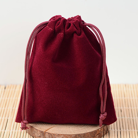 Rectangle Velvet Pouches, Candy Gift Bags Christmas Party Wedding Favors Bags, Dark Red, 12x10cm