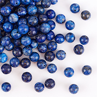 Olycraft Natural Lapis Lazuli Beads Strands, Dyed, Round, Blue, 8mm, Hole: 1mm; about 24pcs/strand, 7.6 inches, 4strands/box