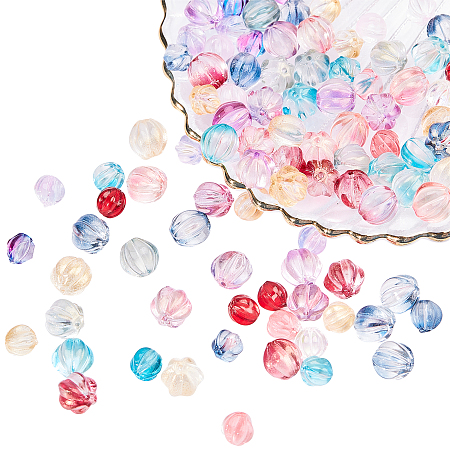 SUPERFINDINGS Transparent Glass Beads, with Glitter Powder, Pumpkin, Mixed Color, 8.5~10.5mm, Hole: 1~1.2mm; 144pcs/box