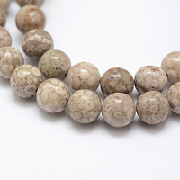 Arricraft Natural Chrysanthemum Stone Beads Strands, Round, 8mm, Hole: 1mm, about 48pcs/strand, 15.3 inches(39cm)