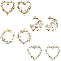 Brass Micro Pave Cubic Zirconia Links Connectors, Nickel Free, Real 18k Gold Plated, Heart & Moon & Flat Round, Clear, Real 18K Gold Plated, 17x17x2mm, Hole: 0.8mm, 8pcs/box
