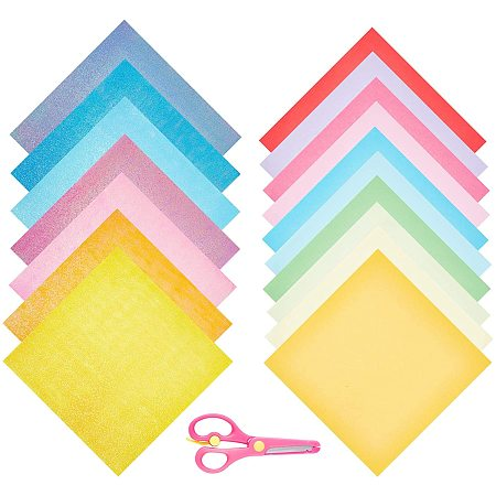 Origami Paper, Shiny Iridescent Paper, with Stainless Steel and ABS Plastic Scissors, Mixed Color, 199x199x0.1mm, Bag: 199x199x8.5mm; 50sheets/bag; 1bag