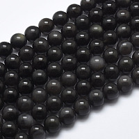 Arricraft Natural Ice Obsidian Beads Strands, Round, 8mm, Hole: 1mm, about 48pcs/strand, 39cm(15.5 inches)