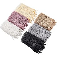 FINGERINSPIRE Curtain Clothes Accessories Decoration, DIY Lace Trim Embroidery Fabric, Mixed Color, 95mm; 1.5yars/color(1.37m/color), 9yards/set(8.23m/set)
