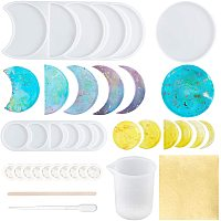 ARRICRAFT Moon Shape DIY Silicone Molds Kits, Resin Casting Molds, with Foil, Gilding Crafting, Birch Wooden Craft Ice Cream Sticks, Measuring Cup, Disposable Latex Finger Cots, Mixed Color, 270x110x10mm