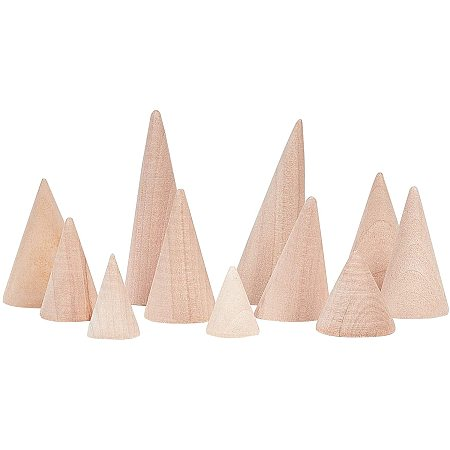 Wooden Ring Displays, Cone Shaped Finger Ring Display Stands, Blanched Almond, 19~39x25.5~78mm; 11pcs/set