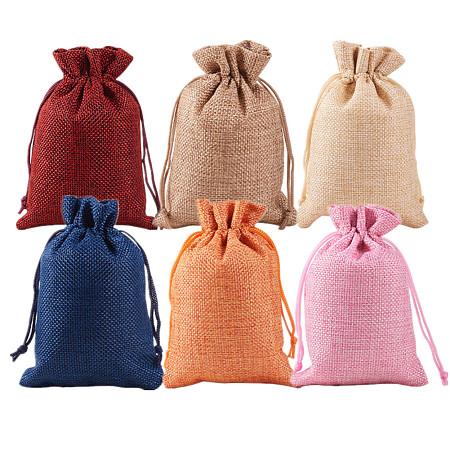Burlap Packing Pouches Drawstring Bags, Mixed Color, 14x10cm; 5pcs/color, 30pcs/set