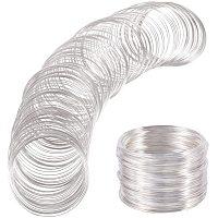 BENECREAT 500 Loop Silver Jewelry Memory Beading Wire Bangle Bracelet Wire for Bracelet DIY Jewelry Making - 22 Gauge, 60mm