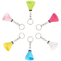 Plastic Keychain, with Iron Findings, Badminton, Platinum, Mixed Color, 111mm, Badminton: 55x40mm; 2pcs/color, 12pcs/set