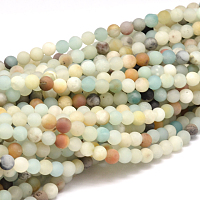 Arricraft Natural Amazonite Beads Strands, Frosted, Round, 10mm, Hole: 1mm, about 38pcs/strand, 15.5 inches(39.5cm)