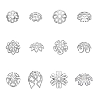 Unicraftale Stainless Steel Bead Caps, Flower, Stainless Steel Color, 9~14x2~9mm, Hole: 1~1.8mm; 162pcs/box