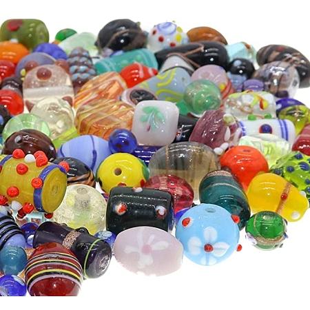 SUNNYCLUE Handmade Lampwork Beads, Mixed Shapes, Mixed Color, 100pcs/bag