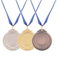 Sports Medal Zinc Alloy Pendant Cabochon Settings, with Neck Polyester Ribbon, Flat Round, Mixed Color, 31.4 inches(80cm), 3 colors, 4pcs/color, 12pcs/set