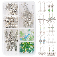 SUNNYCLUE DIY Butterfly & Dragonfly Earring Making Kits, include Alloy Pendants & Beads & Links, Brass Beads & Earring Hooks, Glass Beads, Antique Silver, 166pcs/box