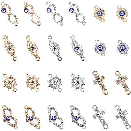 Evil Eye Alloy Links, with Rhinestone and Enamel, Mixed Shapes, Crystal, Mixed Color, 7.4x7.2x1.7cm; 48pcs/box