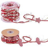 Plastic Beaded Trim, with Polyester Ribbon and Hemp Cord, for DIY Christmas and Holiday Crafts, Red, 2rolls/set