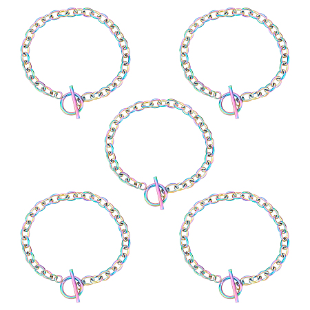 UNICRAFTALE Unisex 304 Stainless Steel Cable Chain Bracelets, with Toggle Clasps, Multi-color, 7-5/8 inches(19.4cm), 5mm; 10pcs/box