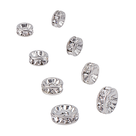 Unicraftale 316 Surgical Stainless Steel Spacer Beads, for Jewelry Craft Making Findings, with Crystal Rhinestone, Disc, Stainless Steel Color, 10x4mm, 8x4mm, 7x3mm, 6x3mm; 40pcs/box