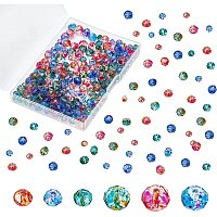 Olycraft Spray Painted Glass Beads, Faceted, Rondelle, Mixed Color, 6x5mm and 8x6mm; Hole: 1mm, 240pcs/box