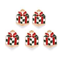 ARRICRAFT Alloy Enamel Charms, for Christmas, Christmas Gift, Light Gold, Colorful, 14x10x3mm, Hole: 2mm