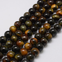ARRICRAFT Natural Tiger Eye Bead Strands, Round, 6mm, Hole: 1.2mm, about 69pcs/strand, 14.9 inches~15.5 inches