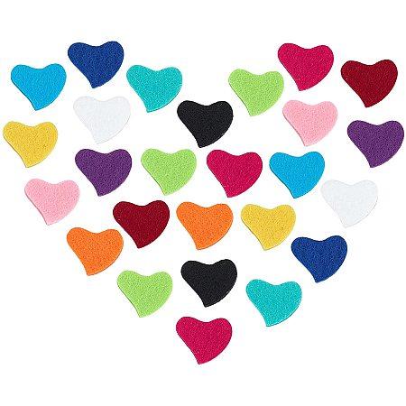 PANDAHALL ELITE Fibre Perfume Pads, Essential Oils Diffuser Locket Pads, Heart, Mixed Color, 18.5x22.3x3mm; 12 colors, 10pcs/color, 120pcs/set