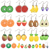 SUNNYCLUE DIY Dangle Earring Making Resin Pendants with Tone Iron Findings and Brass Earring Hooks, Fruits, Mixed Color, Pin: 0.7mm