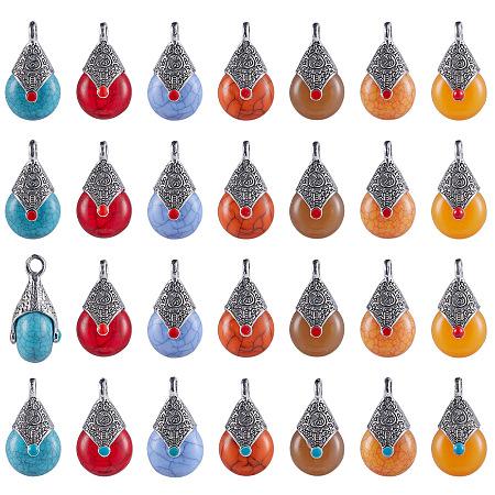 SUNNYCLUE Tibetan Style Resin Pendants, with Alloy & Enamel, Teardrop, Antique Silver, Mixed Color, 28x16x14mm, Hole: 2~3.5mm, 28pcs/box