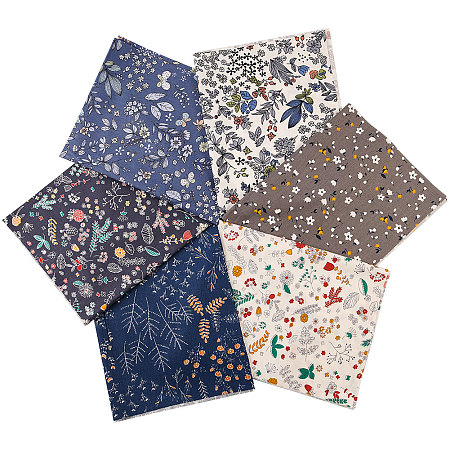 Gorgecraft Printed Floral Cotton Fabric, for Patchwork, Sewing Tissue to Patchwork, Mixed Color, 50x40x0.02cm; 6sheets/set