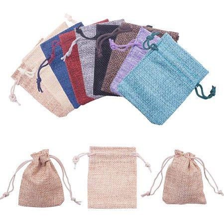 Burlap Packing Pouches Drawstring Bags, Mixed Color, 9x7cm; 30pcs/set
