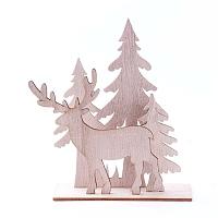 Undyed Wood Home Display Decorations, Christmas Tree & Christmas Reindeer/Stag & Santa Claus, BurlyWood