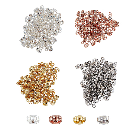 Unicraftale 304 Stainless Steel Ear Nuts, Earring Backs, with Bead Container, Mixed Color, 3x6x3mm, Hole: 0.8~1mm; about 400pcs/box