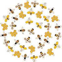 SUNNYCLUE Alloy Pendants, with Enamel &  Rhinestone Pendants, Epoxy Resin Pendants, Bees & Honeycomb, Mixed Color, 40pcs/box
