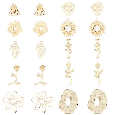 CHGCRAFT Alloy Pendants, Leaf & Flower, Light Gold, Pendants: 20pcs/box