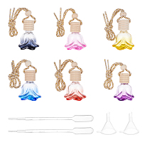 Car Hanging Air Freshener Flower Shape Glass Bottles, with Plastic Stopper, Funnel Hopper and Transfer Pipettes, Mixed Color, 24.7cm, Bottle: 4.95x4.05x2.75cm
