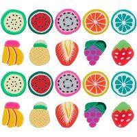 SUNNYCLUE Handmade Polymer Clay Nail Art Decoration, Fashion Nail Care Cabochons, No Hole, Fruit, Mixed Color, 9~12x8~11x1~2mm; 300pcs/set