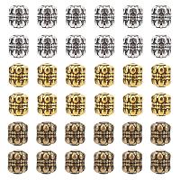 Tibetan Style Alloy Beads, Lead Free & Cadmium Free, Barrel, Mixed Color, 8x6.5mm, Hole: 1mm; 3 colors, 60pcs/color, 180pcs/box